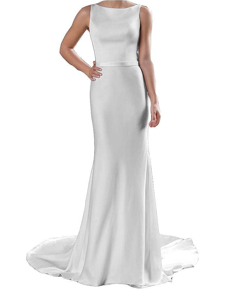 White Stylefun Women's Boho Beach Satin Wedding Dress A Line Long Scoop Lace Back Bridal Gown WD002