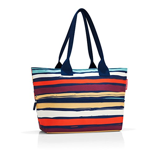 Polka Dot Tote - reisenthel Shopper E1, Expandable 2-in-1 Tote, Converts from Handbag to Oversized Carryall, Artist Stripes