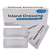 [Pack of 25] 4x10 inches Adhesive Island Dressing - Sterile Bordered Gauze Pads - Adhesive Wound Dressing - Latex Free, Individually Wrapped Island Gauze Dressing