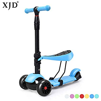 Scooter With Seat >> Amazon Com Xjd 3 In 1 Extra Wide Wheels Kick Scooter For Kids