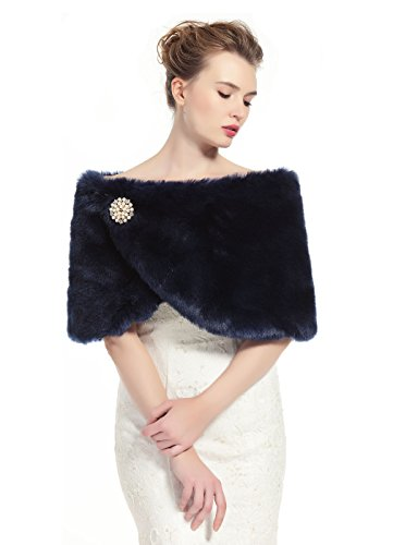 (Faux Fur Wrap Shawl Women's Shrug Bridal Stole for Winter Wedding Party Free Brooch Navy Blue)