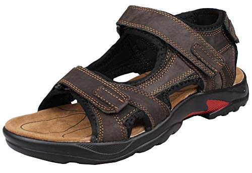 Kunsto Men's Leather Athletic Sport Sandal Flats Shoes US Size 12 Brown