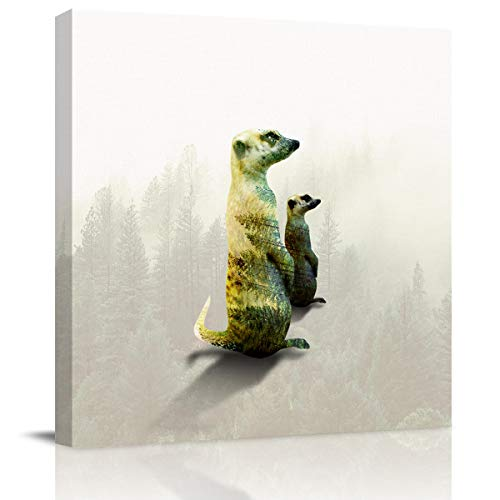 Square Canvas Wall Art Painting for Bedroom Living Room Home Decor,Double Exposure of Two Standing Meerkats Artworks Pictures for Wall,Stretched by Wooden Frame,Ready to Hang,12x12 -