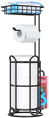 [Upgrade] Toilet Paper Holder Stand with Shelf Tissue Holders for Bathroom Free Standing Bath Tissue Roll Holder Magazine Rack for Mega Rolls/Phone/Wipe-Black