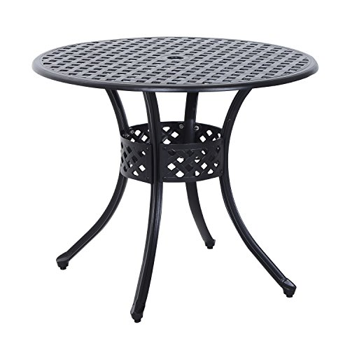 Outsunny Round Cast Aluminum Outdoor Dining Table - Black (Round Metal Patio Table)