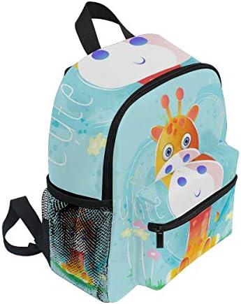 赤ちゃんキリンブルーハート幼児就学前のバックパック本袋ミニショルダーバッグリュックサック通学用1-6年旅行男の子女の子