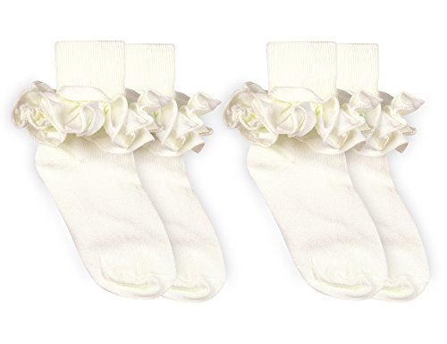 Jefferies Socks Girls Misty Ruffle Turn Cuff Socks 2 Pair Pack (S - USA Shoe 9-1 - Age 3-7 Years, Ivory) ()
