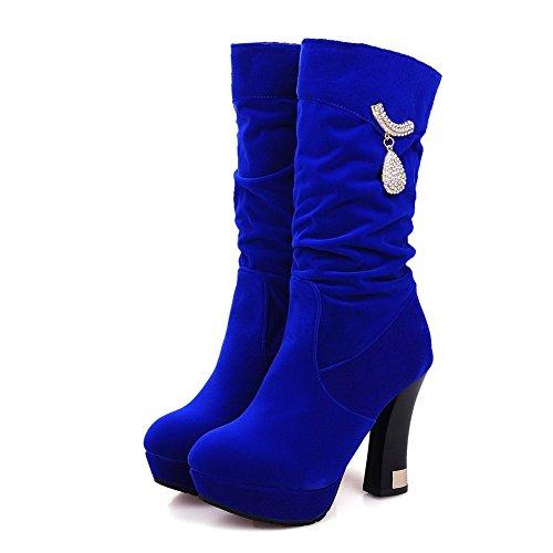 AllhqFashion Mujeres Puntera Redonda Caña Media Tacón Alto Sólido Gamuza(Imitado) Botas Azul