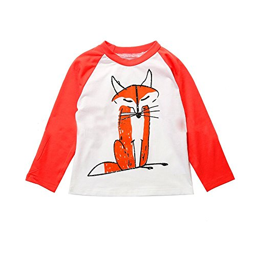 [Baby T-Shirt, Malltop Cute Unisex Baby Kids Long Sleeve Fox Printing Top Outfits] (Cute Couples Halloween Outfits)