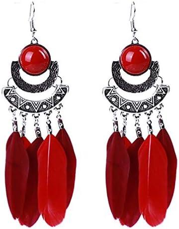 [해외]Toporchid 여성용 드림 캐쳐 귀걸이 합금 フェザ?タッセルロングイヤリング (레드) / Toporchid Women`s DreamCatcher Earrings Alloy Feather Tassel Long Earrings (Red)