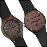 Engraved Wood Watches for Men - Natural Wooden Wrist Watch - Groomsmen Gifts for Men - Personalized Wedding Anniversary Gift for Men