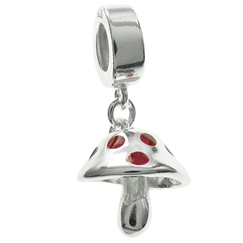 Queenberry Sterling Silver Mushroom Red Enamel European Style Dangle Bead ()