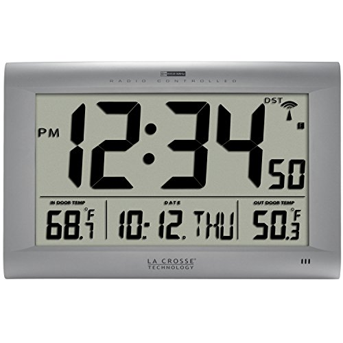 La Crosse Technology 513-1311OT Jumbo Atomic Digital Wall Clock with Outdoor Temperature, Silver (Large Outdoor Clocks For Walls)