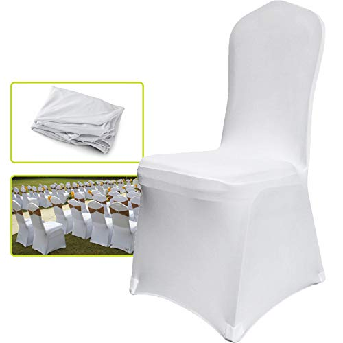 VEVOR 50 Pcs White Chair Covers Polyester Spandex Chair Cover Stretch Slipcovers for Wedding Party Dining Banquet Chair Decoration Covers (Flat Chair Cover, White/50PC) ()