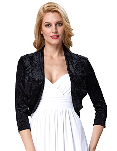 Bridal Velvet Shrugs Cardigan Jacket Nine Points Sleeve Bolero (M,Black 513-1) (Jacket Wear Velvet)