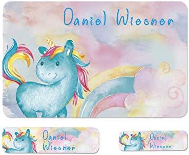 Sunnywall® Einhorn Unicorn Namensaufkleber Stife-Aufkleber Federmappe Kinder & Erwachsene Namen Sticker Aufkleber Sticker 79 Stück Schule und Kindergarten - wasserfest