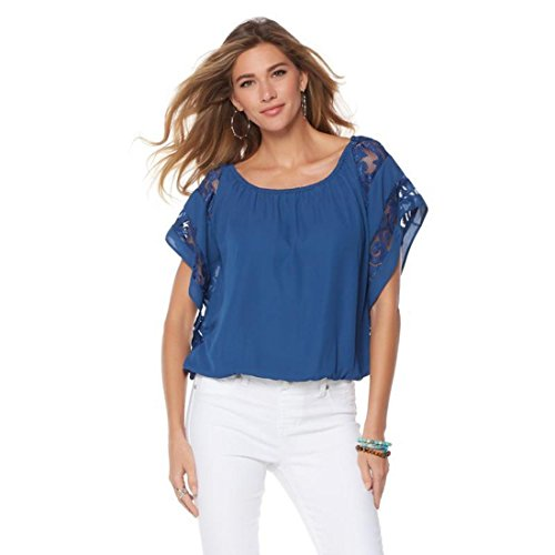 Non Woven Bubble (Colleen Lopez Bubble-Hem Lace Blouse Non-Stretch Woven Knit Navy S New 559-743)