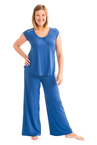 Kindred Bravely Amelia Ultra Soft Maternity & Nursing Pajamas - Pants Set (True Blue, Small)