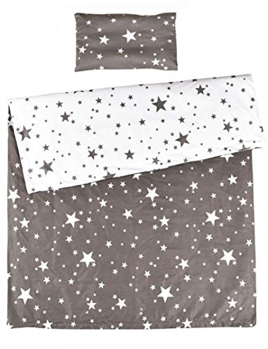 MEJU Twinkle Star 100% Cotton Duvet Cover + Pillowcase Bedding Set with Zipper Closure for Baby Toddler Boys Girls Crib Bed Decoration Gift (11)