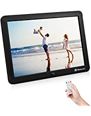 Powerextra 8 Inch 16:9 Digital Photo Frame 1080P HD Display with Multiple Functions for Calender/Music/Video Play, Using USB Flash Disk and SD Card Slots
