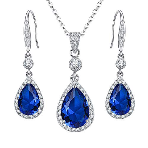 Zirconia Sapphire Cubic Jewelry (EleQueen 925 Sterling Silver Full Cubic Zirconia Teardrop Bridal Pendant Necklace Hook Dangle Earrings Set Sapphire Color)