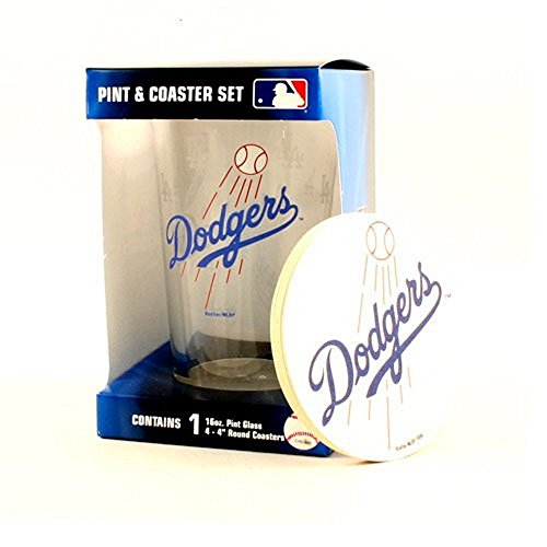 MLB Officially Licensed Los Angeles Dodgers Pint and Coaster Set (Los Angeles Dodgers Glass)