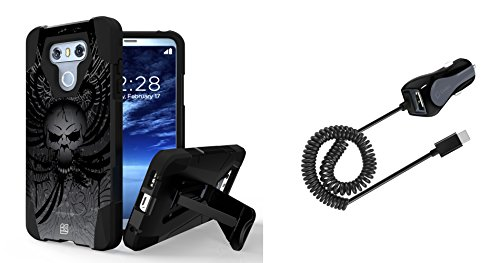 Skull And Wings (LG G6 - Accessory Bundle with Slim [Dual Layer] Rugged Case - [Skull Wings], [15W / 3A] USB Type-C Car Charger with Extra USB Port [6 ft.] and Atom LED)