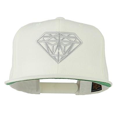 Big Diamond Embroidered Flat Bill Cap - White
