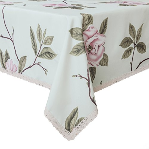 Decorative Camellia Floral Print Lace Water Resistant Tablecloth Wrinkle Free and Stain Resistant Fabric Tablecloths for Dining Room 60 Inch by 84 Inch (Tablecloth Fabric Floral)