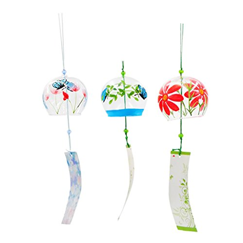 Wind Bell Japanese (Baoblaze 3pcs Japanese Style Glass Wind Chimes Wind Bells Home Living Room Office Decor Gift Valentine's Day Gift Event Party Decors PICK #7)