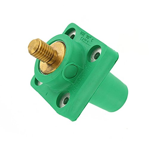 Leviton 16R24-UG 16-Series Taper Nose, Female, Panel Receptacle, 90°, Threaded Stud, Cam-Type Connector, Green