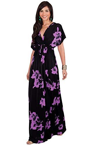 Dress Silk Empire - KOH KOH Womens Long Kimono Short Sleeve Floral Summer V-Neck Flowy Sundress Sundresses Print Cute Casual Evening Kaftan Sun Gown Gowns Maxi Dress Dresses, Black & Purple L 12-14