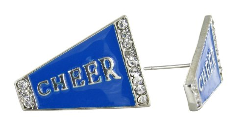 Flat Cheer Megaphone Rhinestone Stud Earrings - Royal Blue Enamel with Clear Crystals