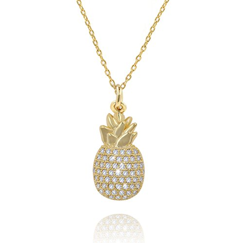 Ash's Choice CZ Paved Bling Pineapple Fruit Pendant AAA quality 14K gold Charm Necklace 16+2