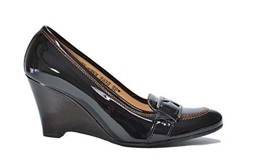 Melluso Decolte' zeppa nero e t.moro scarpe donna V5359