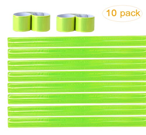 MepLife 10 Adjustable Visibility Reflective Tape for Clothing Bicycle Pants Strap Safety Reflector Gear Reflective Slap Bands for Walking Running Armbands Bracelets (10 Green) (Slap Reflective Strap)
