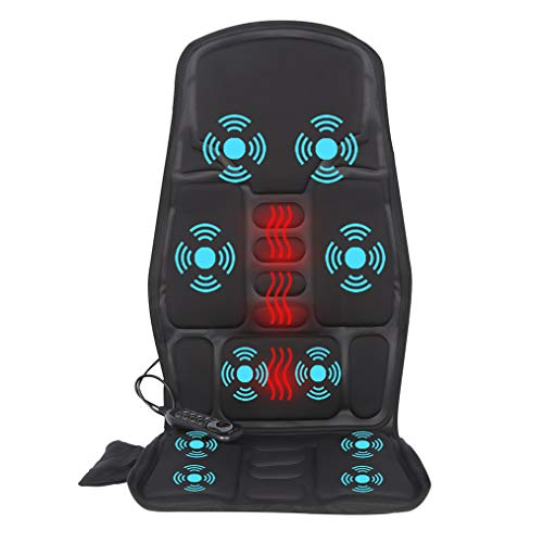 IDODO Vibration Car Back Massager, Back Massage Cushion with Heat, 10 Vibrating Motors & Heating Therapy to Release Stress and Fatigue, for Car, Home and Office Use