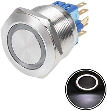uxcell 押しボタンスイッチ プッシュボタンスイッチ ラッチング自己ロック 取付穴径22mm 5A 24V ホワイト