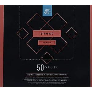 Marchio Amazon - Happy Belly Espresso Caffè UTZ tostato e macinato in capsule, compatibili Nespresso, 4 x 50 capsule