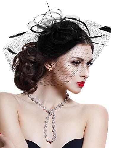 Hovivid Fascinator for Women Tea Party Wedding Headband Mesh Feather Flower Hair Clip (Black-1)