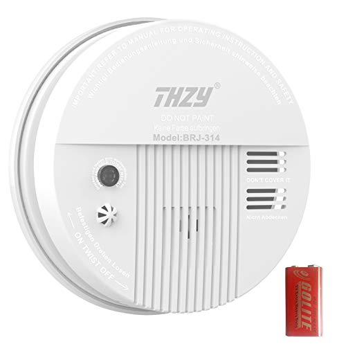 Smoke & Carbon Monoxide Alarm, THZY Battery Operated Carbon Monoxide CO Detector with Sound Warning and LED Light Indicator,9V Battery Back-up, White