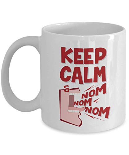 Collection Foodies - Keep Calm And Nom Nom Nom! Funny Quotes Coffee & Tea Gift Mug Cup, Eating Utensils, Kitchen Collection & Accessories For Cook, Chef, Foodie, Food Addict Or Lover And People Who Love To Eat (15oz)