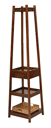 6 Hooks Coat Rack Stand with 3 Tier and 1 Drawer and 1 Basket in Walnut
