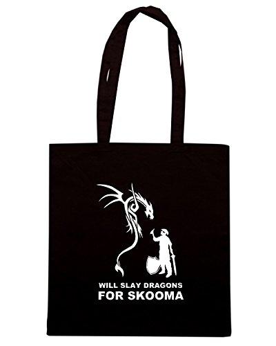 T-Shirtshock - Bolsa para la compra TGAM0089 Will Slay Dragons for Skomma! Negro