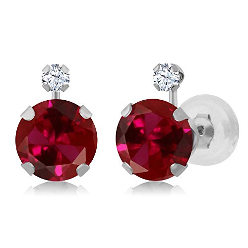 Gem Stone King 2.08 Ct Round Red Created Ruby White Created Sapphire 14K White Gold Earrings
