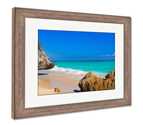 Ashley Framed Prints Tulum Beach Near Cancun Turquoise Caribbean, Wall Art Home Decoration, Color, 26x30 (Frame Size), Rustic Barn Wood Frame, AG5947555