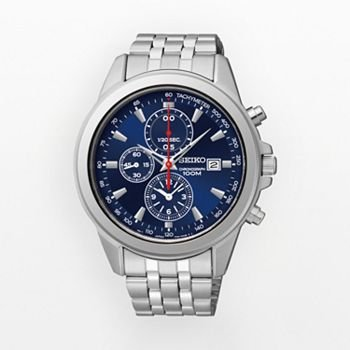 Seiko Blue Dial Chronograph Stainless Steel Mens Watch SNDF01 -