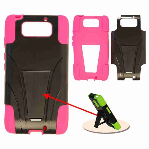 Cell Armor Hybrid Fit-On Jelly Case for Motorola Droid Ultra - Retail Packaging - Magenta Skin and Black Snap with Stand