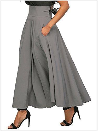 Lovewhitewolf Women's High Waisted A Line Street Bowknot Skirt Skater Pleated Full Midi Skirts (Grey, (Inverted Pleat Skirt)