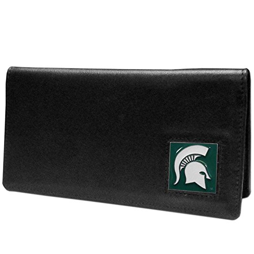 NCAA Michigan State Spartans Leather Checkbook Cover, Black,